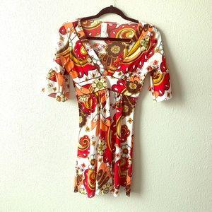 60's Mod Paisley Print Hippie Dress Sz Medium  🎃